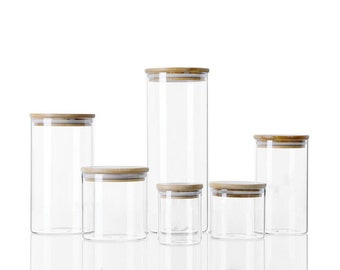 Glass Food Canisters with Bamboo Air-tight Lids   Jars for Herbs Spices Sugar Coffee Tea Nuts Grains Flour Pasta Food Containers