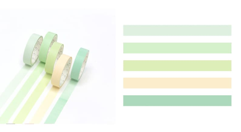 Pastel Green Colours for Planners and Journals Set of 5 Japanese Washi Tape