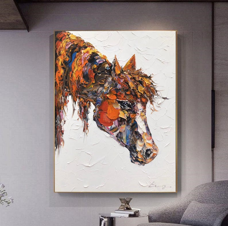Large Original Horse Painting,Brown Horse Painting,Original Horse Painting,Office Decor,Horse Portrait Art,Mother Gift,Custom Horse Painting