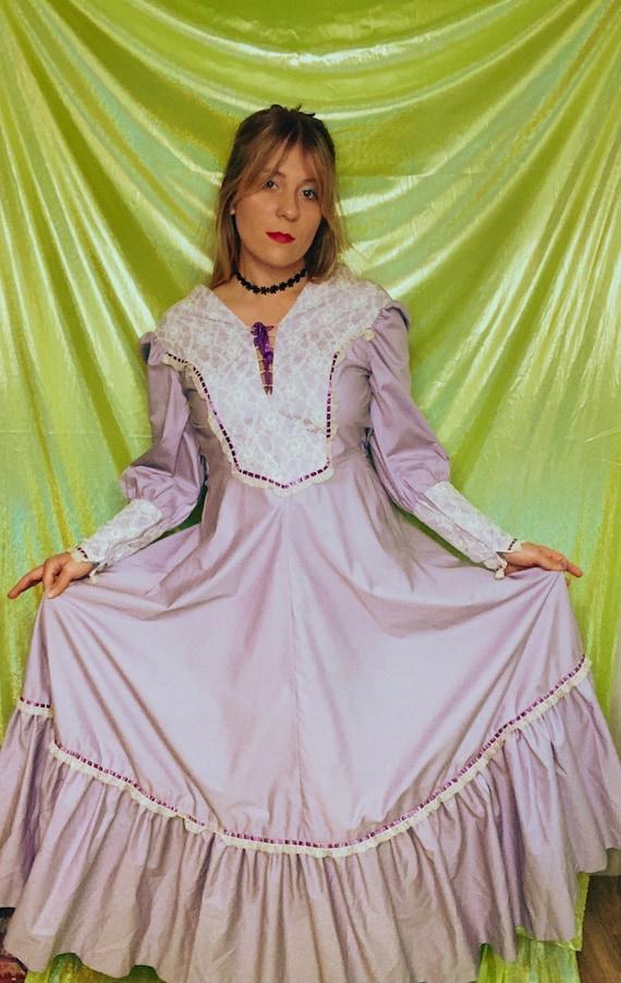 70s Gunne Sax Style Lilac Prairie Dress