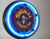 Veedol Oil Gas Service Station Bar Man Cave Blue Neon Clock Advertising Sign