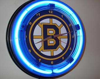 Columbus Blue Jackets Hockey Bar Man Cave Blue Neon Clock Advertising Sign