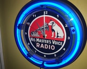 RCA Nipper Radio Television Repair Shop VintageStyle Man Cave Bar Blue Neon Clock Advertising Sign