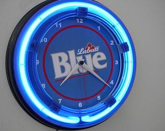 Stella Artois ** Beer Bar Man Cave Blue Neon Clock Advertising Sign