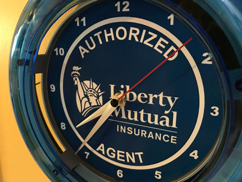 Liberty Mutual ** Insurance Office Authorized Agent Blue Neon Clock Advertising Sign
