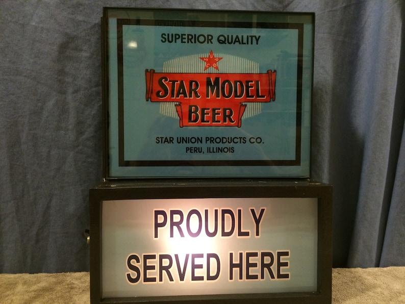 Star Model Peru Illinois Beer Bar Advertising Man Cave Lighted Sign
