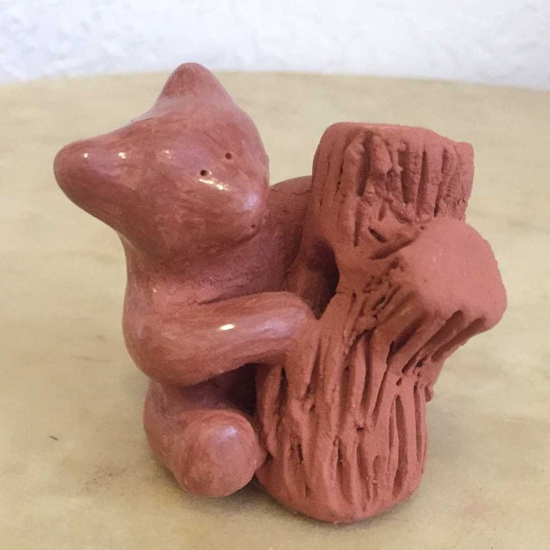 Dorothy Gutierrez Whimsical Redware Santa Clara Bear with Log Pueblo Pottery