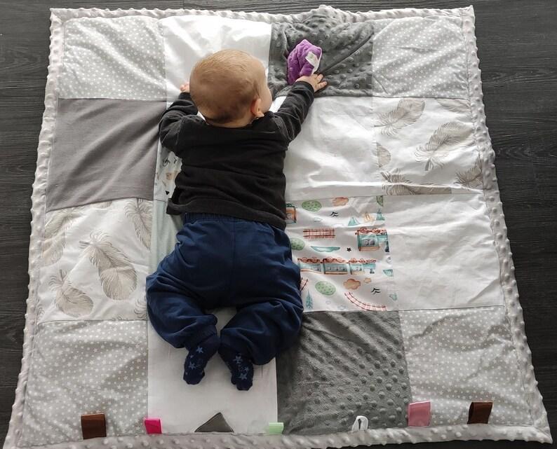 Sensory Gift Play Mat comes with baby rattle,Kids Floor Mat Handmade contrasting baby sensory mat babyshower gift velvet, minky, waffle