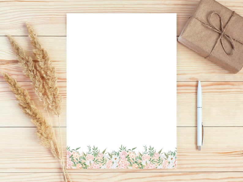 A4 8.5x11 Digital Letter Writing Paper Printable Note Paper Flower Notepad Printable Floral Stationery Paper Lined Unlined