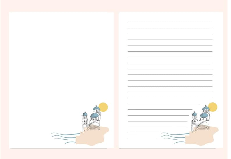 A4 8.5x11 Digital Letter Writing Paper Santorini Notepad Lined Unlined Printable Note Paper Printable Stationery Paper