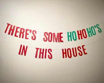 HO HO HO CHRISTMAS SIGN RED GREEN AND WHITE BUNTING PARTY DECORATION