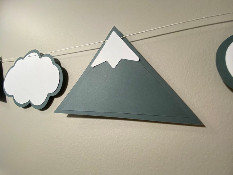 Mountain baby room themed cardstock banner