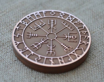 Large Copper Viking Compass Antique Copper Runic Vegvisir Pendant on Adjustable Leather or Vegan Waterproof Viking  Jewelry Nordic Necklace