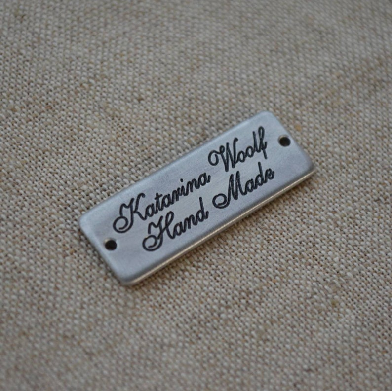 Personalized Aluminium Tag Custom Metal Bag Label. 13x35 mm Handmade Custom Clothing Labels and Tags with Deep Engraving Plated Enamel
