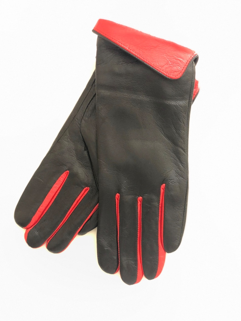 Black Two Tone Ladies leather gloves Nicely Lined