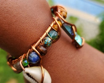 Healing Bracelet Beaded Bracelet for WomanGirls PiscesMarch Birthstones Aquamarine Orgone Faerie Bracelet Stacking Gift for Her