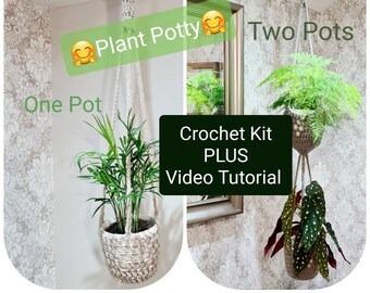 Crochet Kit + Video - Plant Potty Pot Hanger PLUS access to Video Tutorials with Joodybloos on Facebook - UK or US Terms hook not included