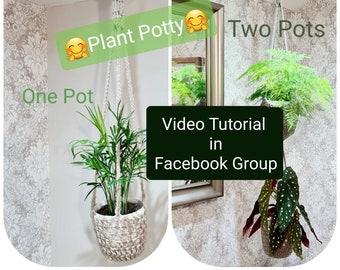 Crochet Pattern Plus Video Tutorial Plant Potty Pot Hanger - video tutorial accessed on Facebook - Joodybloos - two tier pot hanger