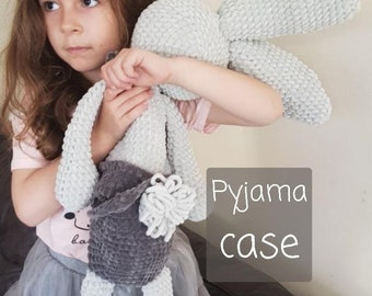 Crochet Kit - Bedtime Bunny Pyjama Case. UK and US Terms Joodybloos Joodigurumi.  Choose printed or e-copy pattern