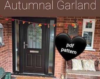 Crochet Pattern - Autumnal Garland - UK & US Terms downloadable Joodybloos Joodigurumi