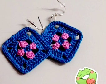 Granny Flower Earrings kit with free pattern & you tube crochet along video