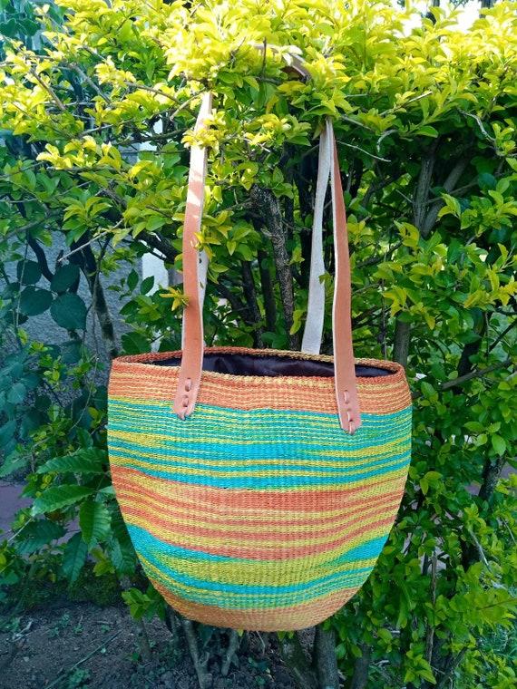 ON SALE green, orange, yellow Handwoven kiondo hobo bag, Kiondo handbag, Woven handbag, Sisal bag, African handbag, Kenyan handbag, Fall bag