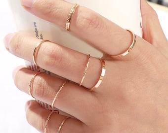 stacking ring set Boho Chic Jewelry minimal gold ring set Midi Rings Dainty stacking rings minimalist stacking rings Knuckle Ring Set