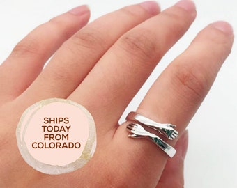 Girlfriend Gift Braided Crystal Ring Wire Wrapped Silver Ring Stackable Ring Mothers Day Gift