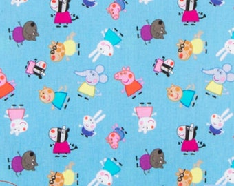 Fabric Peppa Pig by The Seaside Nick Jr Cotton Quilting Fabric Navy Blue