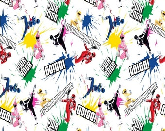 "Power Ranger Fabric* 100% Cotton* Quarter Yard (9""×44"")* Half Yard (18""×44"")* Full Yard (36""×44"")* Morph Time Print"