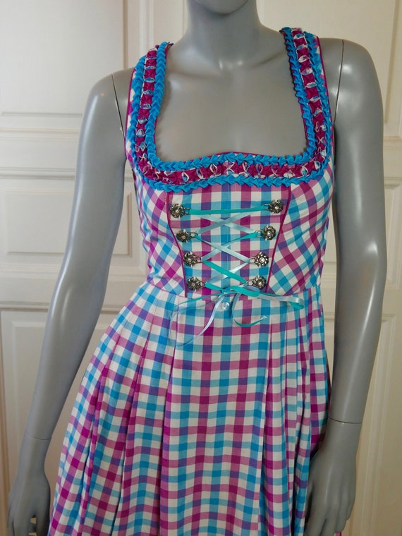 Dirndl Dress, Turquoise Fuchsia and White Tableclo