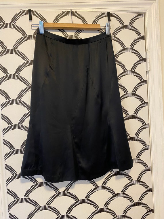 Chanel Navy Silk Satin Skirt with Logo