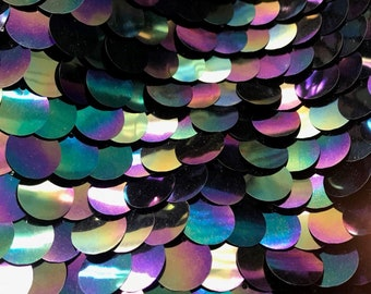 Large Reflective Petrol Black Sparkly Paillette Sequins On Black Mesh Fabric By The Yard 58 Wide