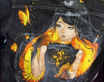 butterflies on the jacket personalized polaroque for anime lover cute girl fire cool black youth denim jacket pattern on the back