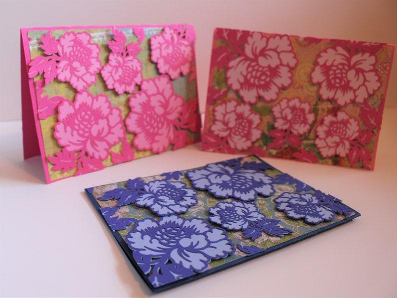 Anna Griffin Pink Flowers Card elegant 3D Card Blue Flowers Card