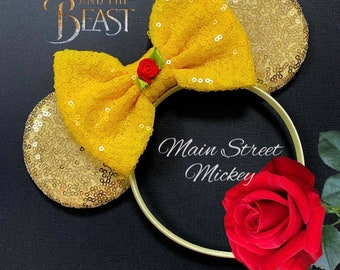 Princess Belle Minnie Mouse Ears, Beauty and the Beast Ears, Belle Mickey Ears, Belle Disney Mouse Ears Headband, Disneyland Ear, Minnie Ear