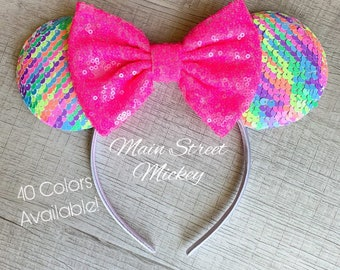 Minnie Ears for Adults and Kids, Mickey Ears, Disneyland Ear, Minnie Ears, Disney Birthday Ears, Sequin Minnie Ears, Sparkle Ears, Mouse Ear