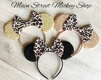 Minnie Mouse Ears For All Ages, Disney Ears For Adults and Kids, Animal Kingdom Ears, Leopard Mickey Ears, Leopard Minnie Ears, Disney Ear