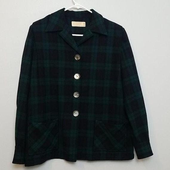 Vintage Pendleton Plaid Wool Blazer Jacket Size 16