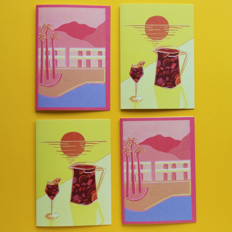 summer Palm trees Sangria Greeting card pack Sunsets greeting cards