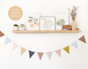 Small Bunting Flag Mini Triangle Garland Pennant Nursery Baby Room Decor Cotton Linen Felt Bridal Shower Nordic Rainbow Neutral Earthy Boho