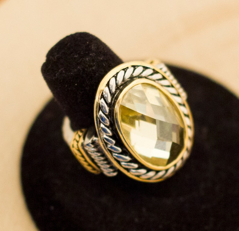 Medieval Ring Vintage Ring Yellow Ring Big Ring Gift For Her Size 6 12 Large Ring Mid Century Ring Statement Ring Fantasy Ring