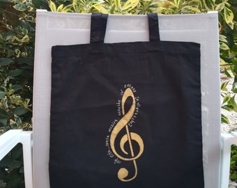 music phrases Shopping bag music golden violin key musicians gift personalized phrase