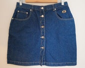 Vintage Gallini Denim Mini Skirt in Indigo - Size 14