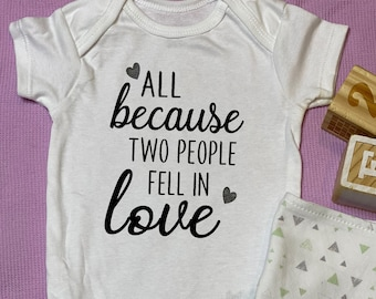 pregnancy announcement baby shower  custom baby bodysuit Custom pregnancy announcement All because two people fell in love baby bodysuit