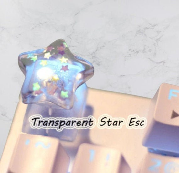 Glitter Stars Translucent Keycaps Cat Paw Resin keycap Artisan keycap for Mechanical Keyboard Cherry mx Gift for Her