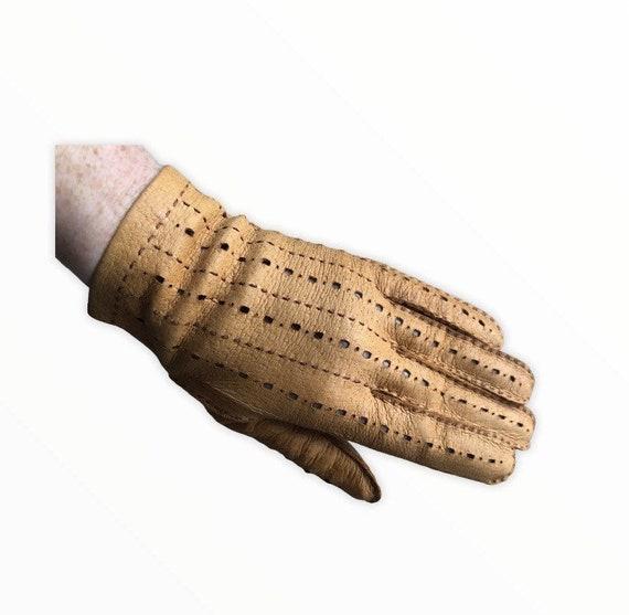 Tan Leather Driving Gloves Size 7 Ladies Medium Light 35g Vintage Gloves Tooled Design Classic Smart Daytime Glove Concertina Finger