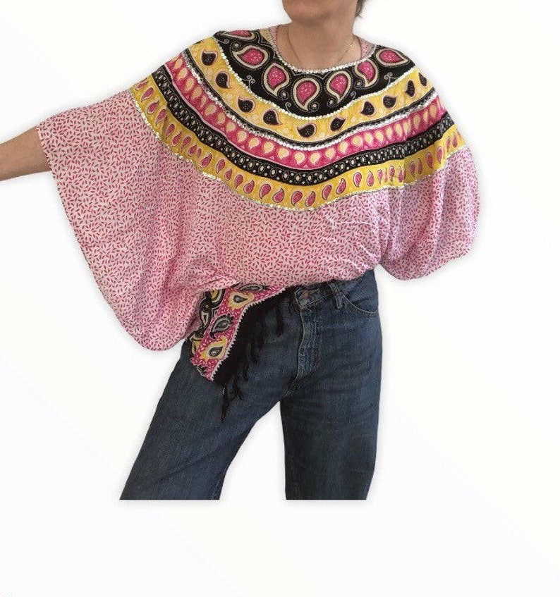 Vintage 90s Indo-Spanish Poncho Top Free Size Cover Up Loud Print Pink Yellow Boho Folk