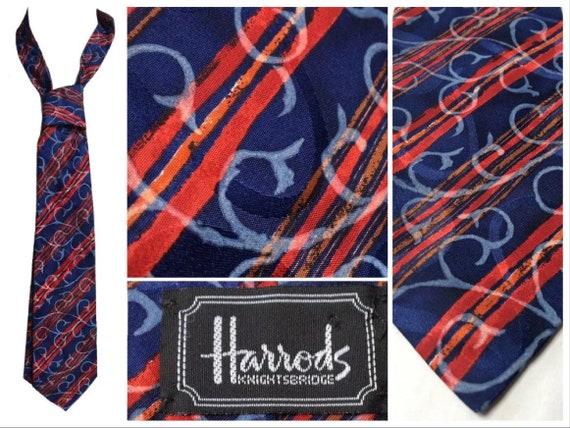 Vintage HARRODS Silk Tie Blue Red Stripe Baroque S