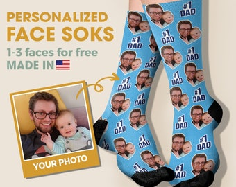 Personalised Fathers Day Photo Socks Novelty Fathers Day Gift Add Any Photo Dad